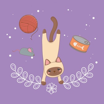 マグロ缶とウールのロールが付いたかわいい猫マスコット