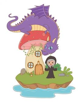 Гриб и персонаж сказочного дизайна векторная иллюстрация