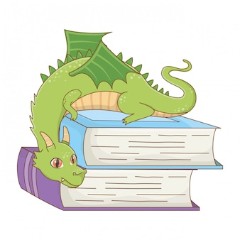 Изолированные дракон мультяшный дизайн векторная иллюстрация