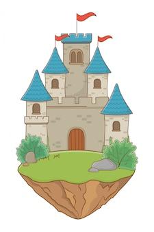 ペナントデザインのベクトル図と隔離された城