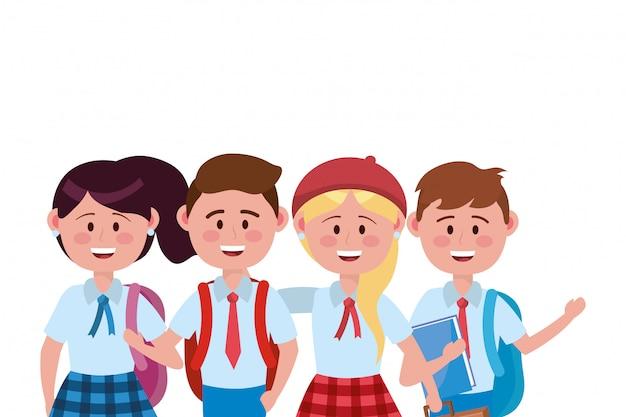 学校のデザインの男の子と女の子の子供