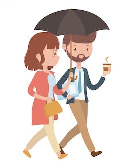 女と男の漫画デザインのカップル