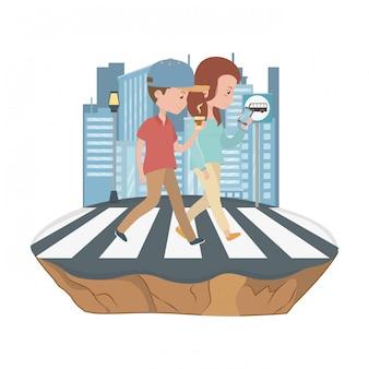Пара женщина и мужчина мультфильм дизайн
