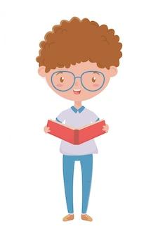 学校デザインの少年キッド
