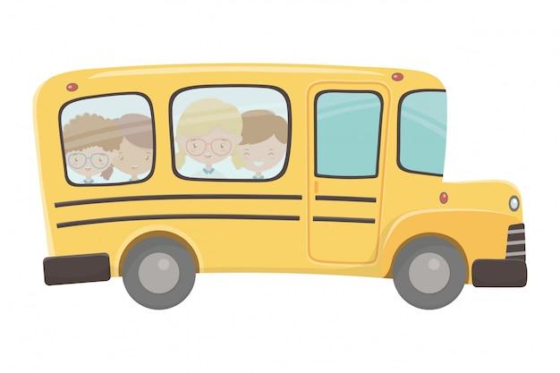 スクールバスと子供のデザイン