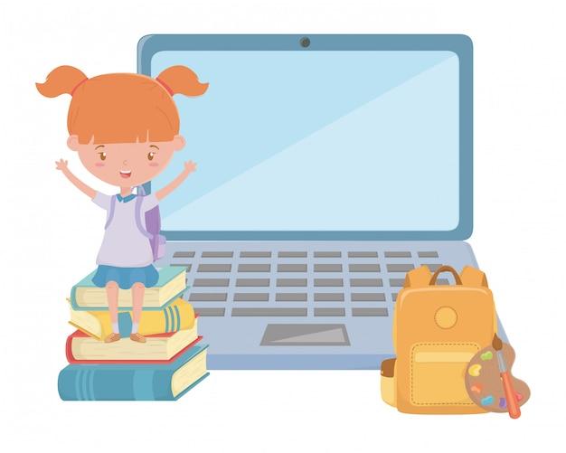 学校とラップトップのデザインの女の子の子供