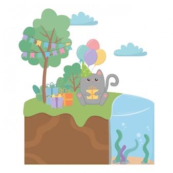 かわいい猫とお誕生日おめでとう