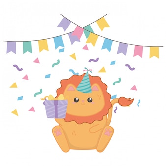 かわいいライオンとお誕生日おめでとう