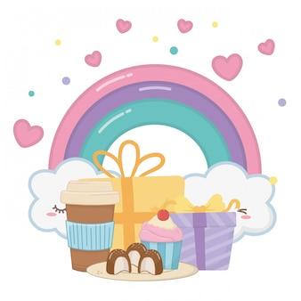 かわいい虹とお誕生日おめでとう