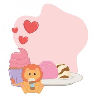 ライオン漫画とデザートのかわいい