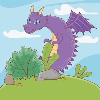 Изолированная иллюстрация шаржа дракона