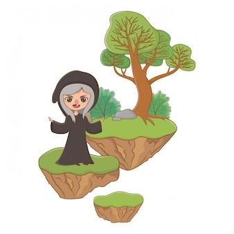 Средневековая ведьма мультфильм сказочной иллюстрации