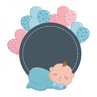 イラストを眠っている赤ちゃんとラウンドフレーム