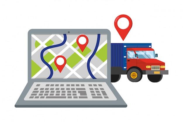 トラックのベクトル図とラップトップ