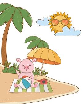 夏の時間の漫画を楽しんでいるかわいい動物