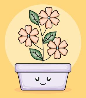 スクエアポットかわいいキャラクターの庭の植物