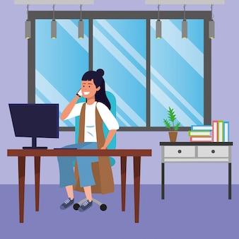 図書館机の図に座っている学生