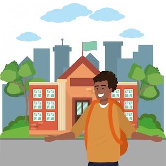 学生の笑顔とキャンパスの図に手を振る