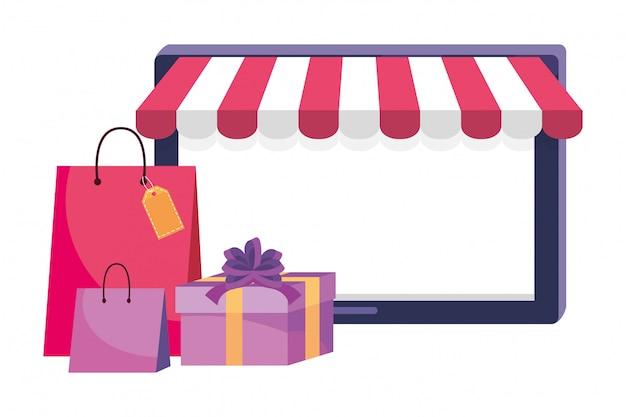 Планшет и магазин значок иллюстрации