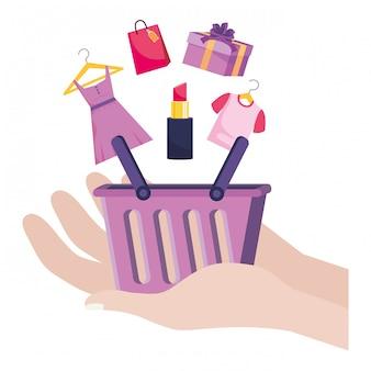 Покупки онлайн значок иллюстрации