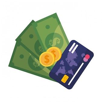 手形のコインとカードの図