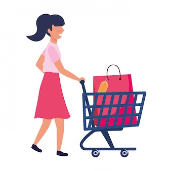 ショッピングバッグアイコンイラストの女性