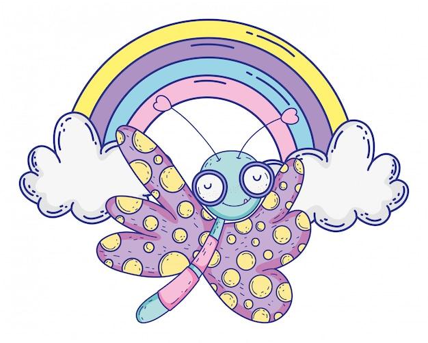 孤立した蝶を描く漫画デザインベクトル図