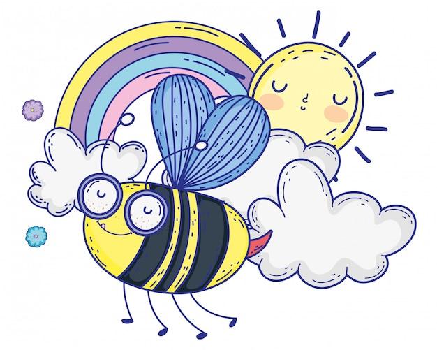 孤立した蜂を描く漫画デザインベクトル図
