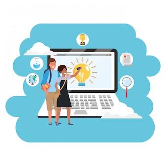 オンライン教育のミレニアル世代のラップトップ