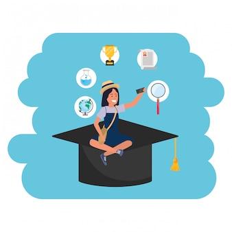 オンライン教育ミレニアル世代のアカデミックハット