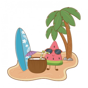 かわいいスイカのキャラクターの夏とビーチの島