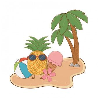 かわいいパイナップルキャラクターの夏とビーチの島