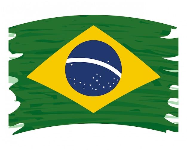 ブラジル国旗スプラッシュ絵画ベクトル図