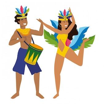 ブラジルのキャニバルを祝っているカップルベクトルイラスト