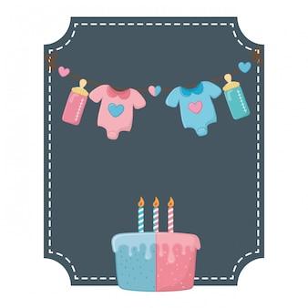 正方形のフレームと赤ちゃんの誕生日要素