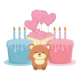 赤ちゃんの誕生日パーティーの要素ベクトルイラスト