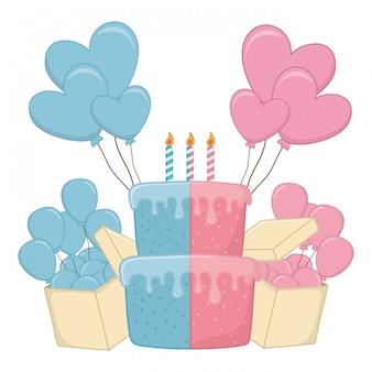 ろうそくのベクトル図と誕生日ケーキ