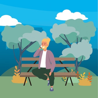 公園のベンチに座っている千年の人