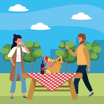 ミレニアルカップルのデートピクニック