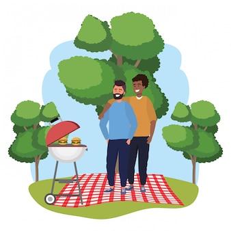 ミレニアル世代のカップルが一緒にフレームピクニックに出かける