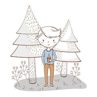 スタイリッシュな少年漫画の衣装の自然