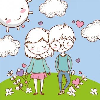 ロマンチックな愛のカップルかわいい