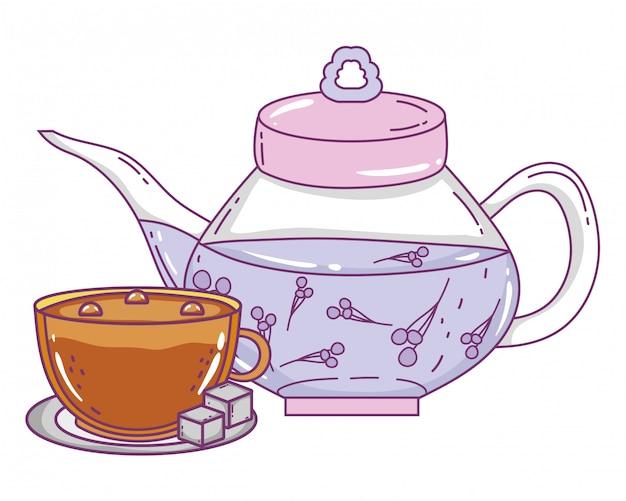 孤立したティーポットとコーヒーカップ