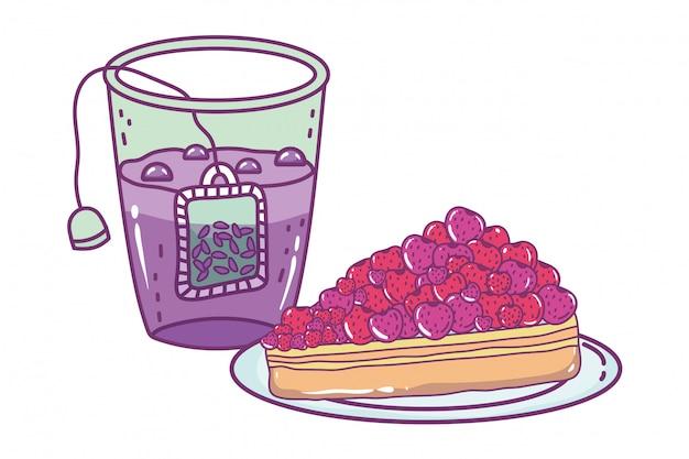 孤立したティーグラスとケーキ