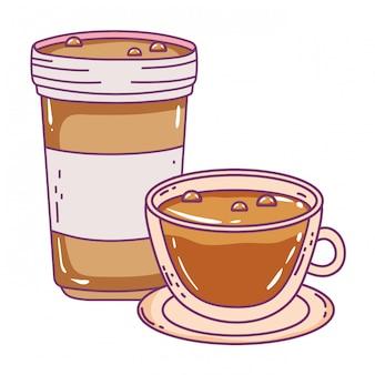 孤立したコーヒーマグカップとカップ