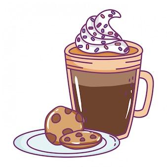 孤立したアイスコーヒーグラス