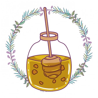孤立した蜂蜜の瓶