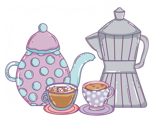コーヒーポットメーカーとカップ