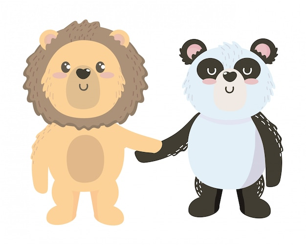 孤立したライオンとパンダの漫画