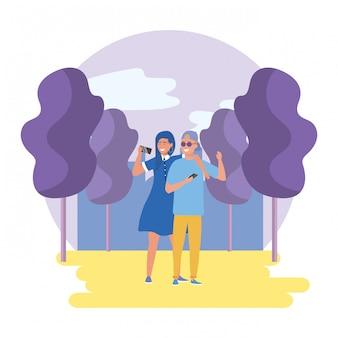 公園の男女のカップル